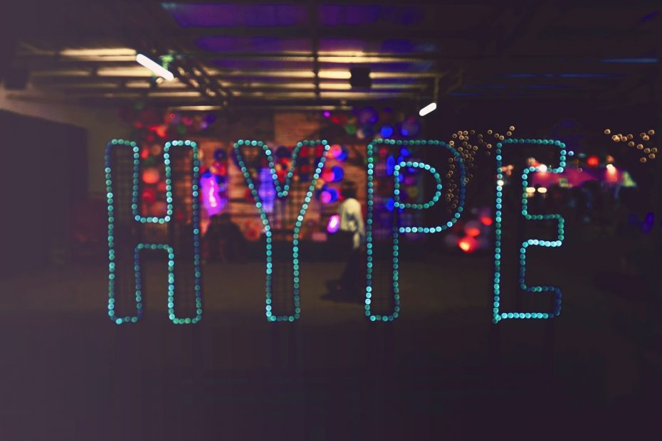 Hype sign in lights in the dark