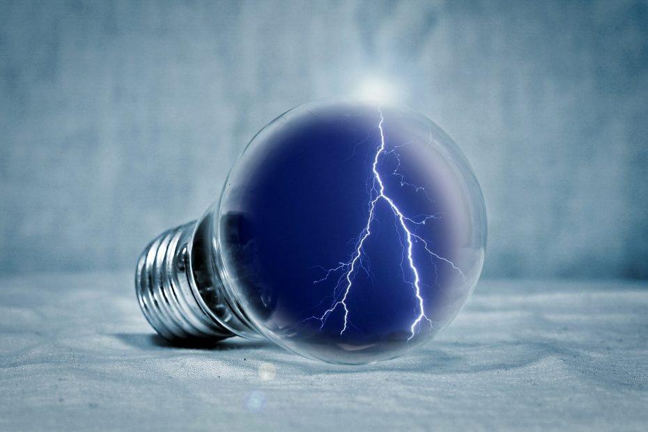 Lightbulb with lightning
